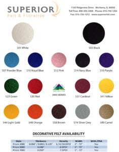 decorative felt color chart